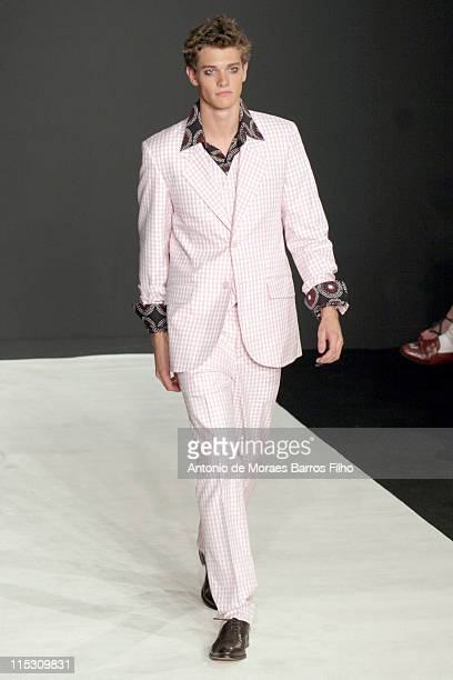 Model wearing a creation from Agnes B's Autumn/Winter 2007 collection, July 4 during the Paris Haute Couture Fashion Week.
