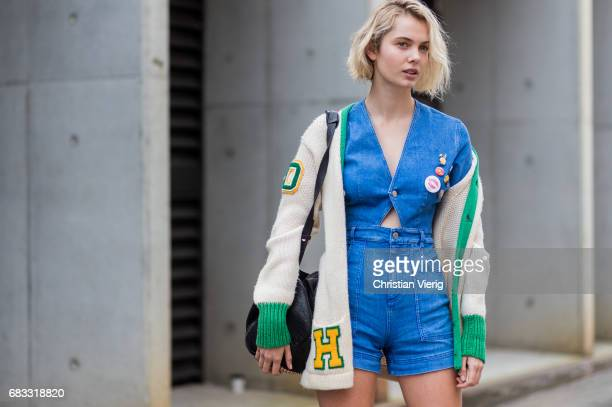 A model wearing a denim jumpsuit at day 2 during MercedesBenz Fashion Week Resort 18 Collections at Carriageworks on May 15 2017 in Sydney Australia