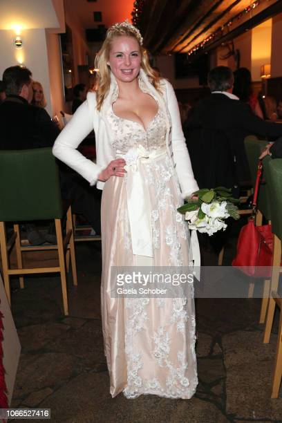 A model wearing a dirndl by Astrid Soell during the Christmas Charity Dinner hosted by StefanMross AnnaCarinaWoitschack and Connections PR for the...
