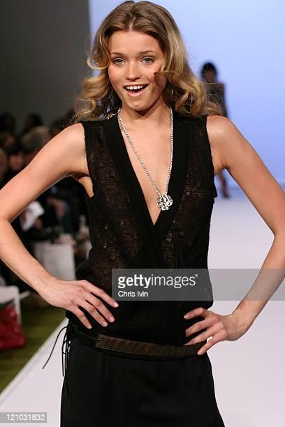 Model wearing a Joveeba design during Mercedes Australian Fashion Week Autumn/Winter Collections Joveeba Runway in Melbourne Australia