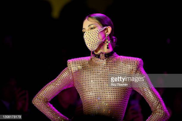 Model wearing a Pitta Mask walks the runway for The Blonds during New York Fashion Week: The Shows at Gallery I at Spring Studios on February 09,...