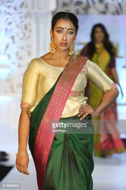 Model wearing a sari during a South Asian bridal fashion show held in Toronto Ontario Canada on February 17 2018
