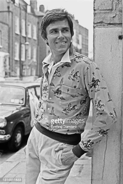 Model wearing a shirt with a Wild West design, UK, 15th May 1974.