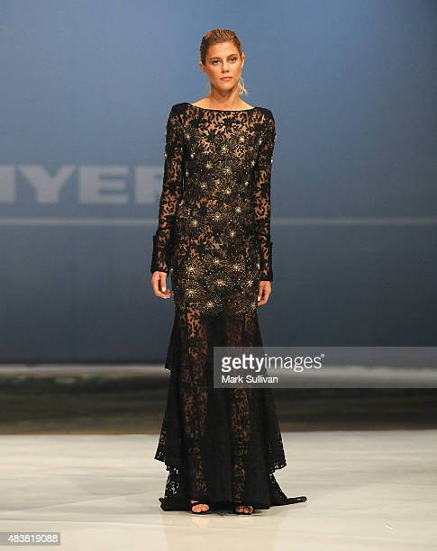 Model wearing AJE during the Myer Spring 2015 Fashion Launch on August 13 2015 in Sydney Australia