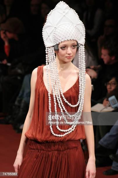 Model wearing Alena Akhmadullina Autumn/Winter 2006 at the Le Carrousel du Louvre Salle Gabriel in Paris France