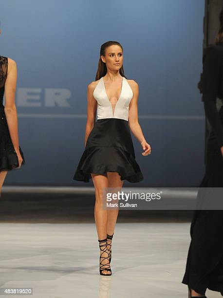 Model wearing Alex Perry during the Myer Spring 2015 Fashion Launch on August 13 2015 in Sydney Australia