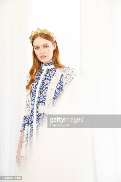 A model wearing an Alexander McQueen blue dress as a nod to Champion winning race horse Winx's jockey silks at the ATC Autumn Fashion Lunch at...