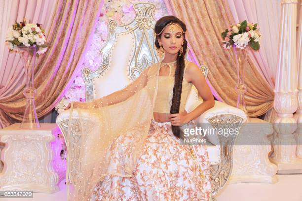 Model wearing an elegant and bridal outfit during a South Asian bridal show held on 14 March 2017 in Scarborough Ontario Canada