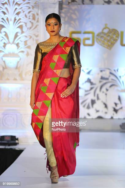 Model wearing an exquisite bridal sari during a South Asian bridal fashion show held in Toronto Ontario Canada on February 17 2018
