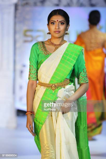 Model wearing an exquisite sari during a South Asian bridal fashion show held in Toronto Ontario Canada on February 17 2018