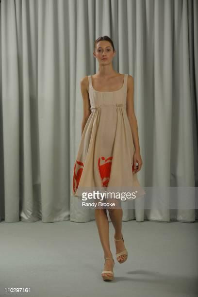 Model wearing Angel Sanchez Spring 2007 during Olympus Fashion Week Spring 2007 - Angel Sanchez - Presentation at Private Studio in New York City,...