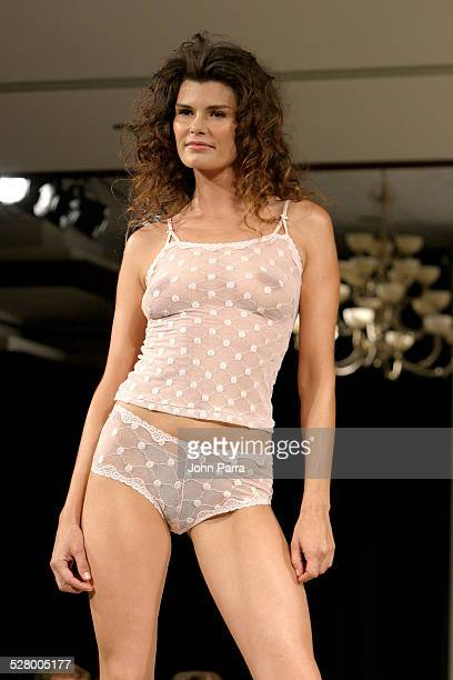 Model wearing Arianne Lingerie 2005 collection during Miami Fashion Week of the Americas 2004 Arianne Lingerie Collection at Roney Palace Hotel in...