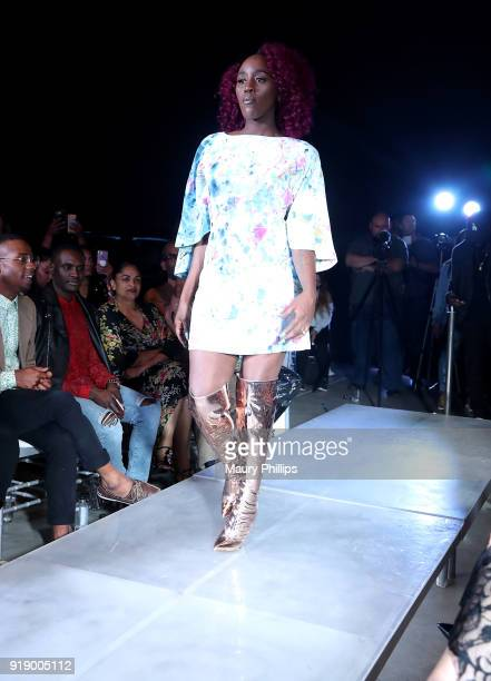 Model wearing Artnevow the 2018 Beauty The Beats Celebrity Party and Panel Discussion at Dream Magic Studios on February 15 2018 in Canoga Park...