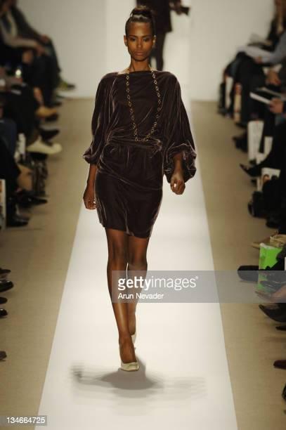 Model wearing Atil Kutoglu Fall 2007 during MercedesBenz Fashion Week Fall 2007 Atil Kutoglu Runway at The Promanade Bryant Park in New York City New...