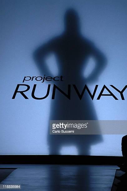 Model wearing Austin Scarlett for 'Project Runway' Fall 2005