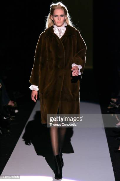 Model wearing Badgley Mischka Couture Fall 2006 during Olympus Fashion Week Fall 2006 Badgley Mischka Couture Runway at The Tent Bryant Park in New...