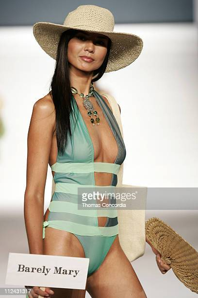 Model wearing Barely Mary during Sunglass Hut Swim Shows Miami Presented by LYCRA Swimwear Association of Florida Fashion Show Runway at Jackie...