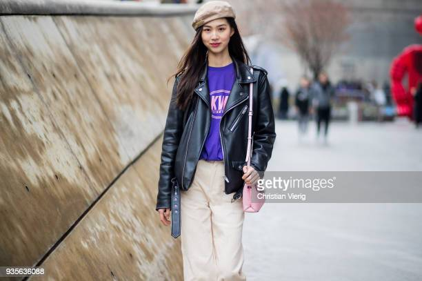 A model wearing beige beret leather jacket beige pants is seen at the Hera Seoul Fashion Week 2018 F/W at Dongdaemun Design Plaza on March 21 2018 in...
