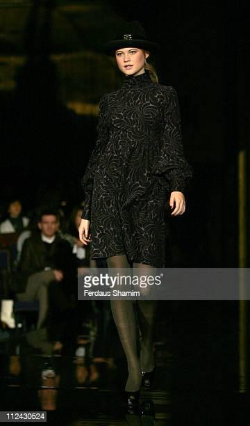 Model wearing Biba Fall/Winter 2007 during London Fashion Week Fall/Winter 2007 Biba Runway at Freemason's Hall in London United Kingdom