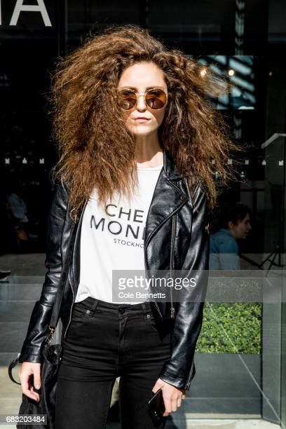 A model wearing black leather jacket during MercedesBenz Fashion Week Resort 18 Collections at Carriageworks on May 15 2017 in Sydney Australia