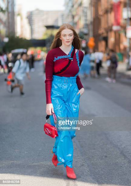 Model wearing blue pants seen in the streets of Manhattan outside Phillip Lim during New York Fashion Week on September 11, 2017 in New York City.