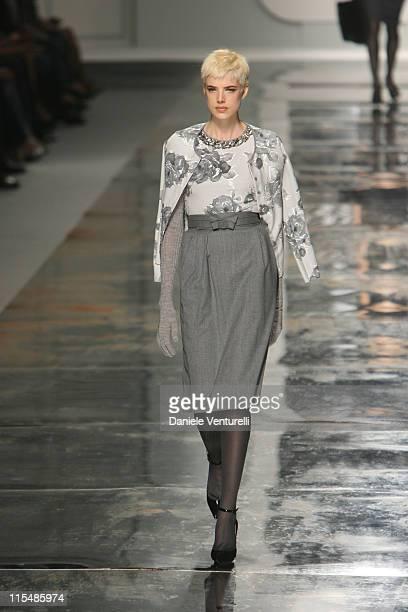 Model wearing Blumarine Fall/Winter 2007 during Milan Fashion Week Fall/Winter 2007 - Blumarine - Runway in Milan, Italy.