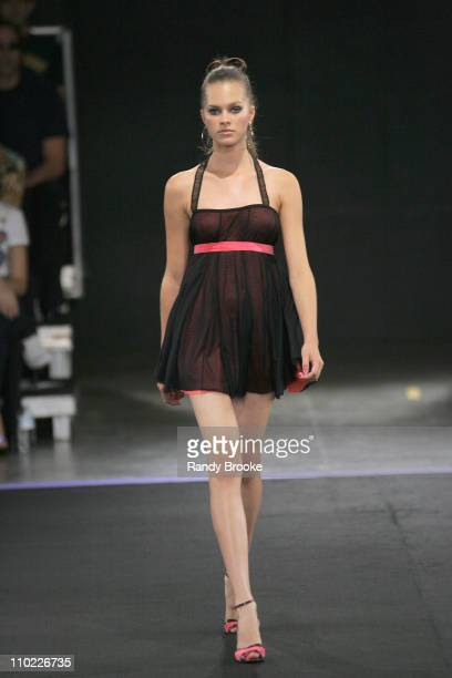 Model wearing Caio Gobbi Fall 2005 during Sao Paulo Fashion Week Fall 2005 Caio Gobbi Runway at Museu da Arte Moderna in Sao Paulo Brazil