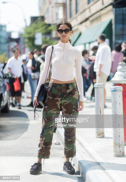 A model wearing camouflage pants seen in the streets of Manhattan outside Public School during New York Fashion Week on September 10 2017 in New York...