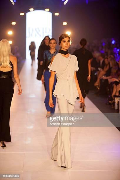 Model wearing Carla Zampatti at the opening of the 2015 Melbourne Fashion Festival on March 14 2015 in Melbourne Australia