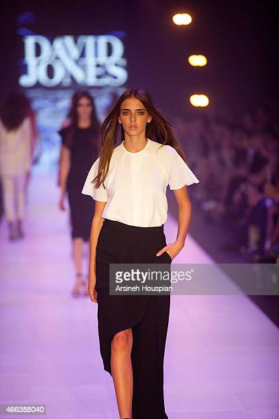Model wearing Christopher Esber at the opening of the 2015 Melbourne Fashion Festival on March 14 2015 in Melbourne Australia