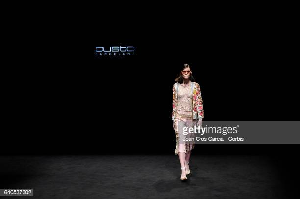 A model wearing clothes from Custo Barcelona during the second day of 080 Barcelona Fashion Week on January 31 2017 in Barcelona Spain