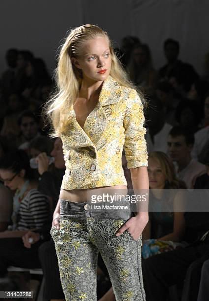 Model wearing Custo Barcelona Spring 2006 during Olympus Fashion Week Spring 2006 Custo Barcelona Runway at Bryant Park in New York City New York...