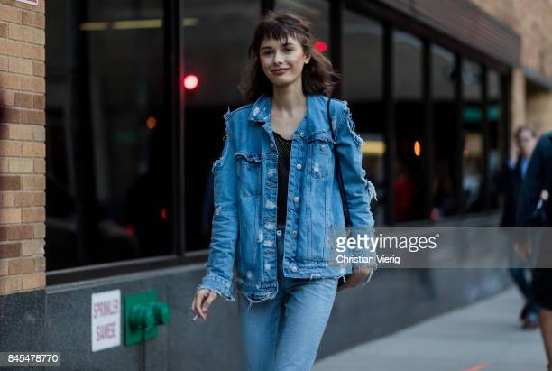 A model wearing denim jacket seen in the streets of Manhattan outside Prabal Gurung during New York Fashion Week on September 10 2017 in New York City