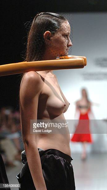 Model wearing design by Thomas Vicary during St Martin's School Graduate Fashion Show June 5 2006 at York Hall in London Great Britain