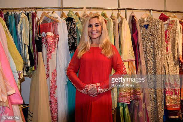 A model wearing designs from Poonam's PopUp curated by Bollywood star Poonam Dhillon at a festive clothing exhibition at the Ritz Carlton DIFC on...