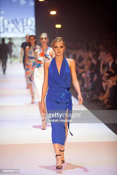 Model wearing Dion Lee at the opening of the 2015 Melbourne Fashion Festival on March 14 2015 in Melbourne Australia