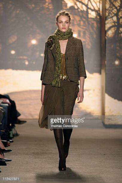 Model wearing DKNY Fall 2004 during Olympus Fashion Week Fall 2004 DKNY Runway at Eyebeam in New York City New York United States