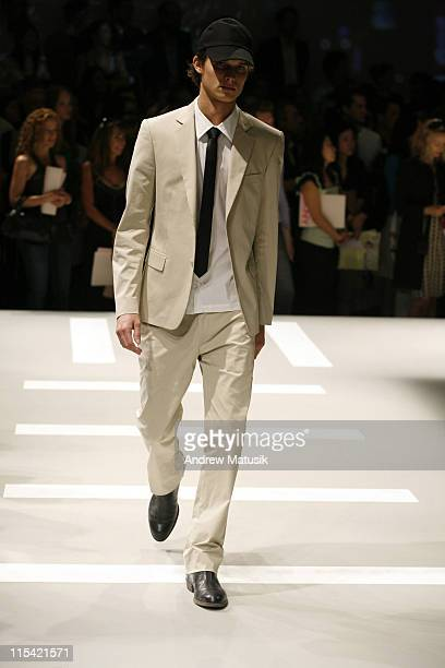 Model wearing DKNY Spring 2007 during Olympus Fashion Week Spring 2007 DKNY Runway at 711 Greenwich Street in New York City New York United States