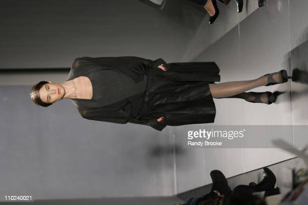 Model wearing Donna Karan Fall 2005 during Olympus Fashion Week Fall 2005 Donna Karan Runway at 711 Greenwich Street in New York City New York United...