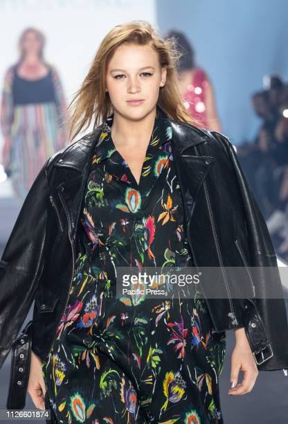 Model wearing dress by Jason Wu walks runway for 11 Honore fashion show during Fall/Winter New York Fashion Week at Spring Studios.