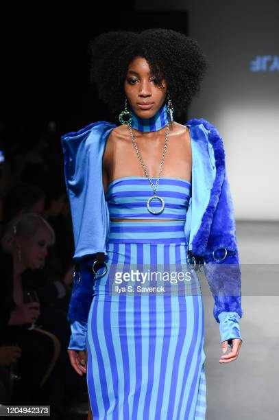 Model wearing Emma Altman walks the runway during the Flying Solo Ready-To-Wear February 2020 runway show at Pier 59 Studios on February 8, 2020 in...
