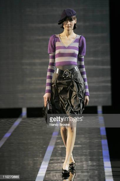 Model wearing Emporio Armani Autumn/Winter 2006 during Milan Fashion Week Autumn/Winter 2006 - Emporio Armani - Runway at Via Bergognone, 59 in...