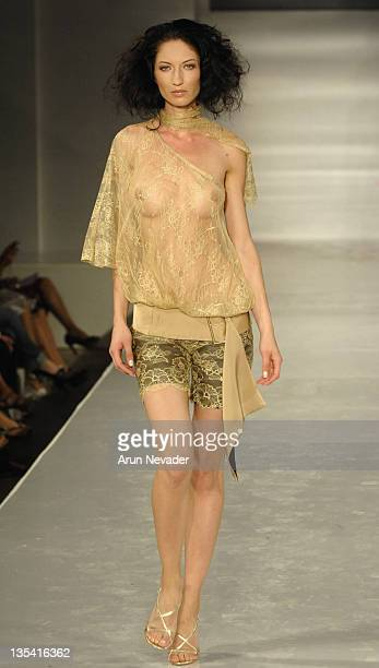 Model wearing Eugenia Ortiz of Spain during 9th Annual Miami Fashion Week Eugenia Ortiz of Spain Runway at Wynwood Pavilion in Miami Florida United...