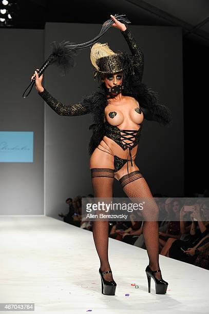 A model wearing fashion brand Latrodectus by designer Kaila Methven walks the runway during Style Fashion Week LA at The Reef on March 19 2015 in Los...