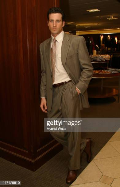 Model wearing fashions from Nordstrom during Fashion Designer Joseph Abboud Makes a Special Appearance at the Grand Reopening of Nordstrom at the...