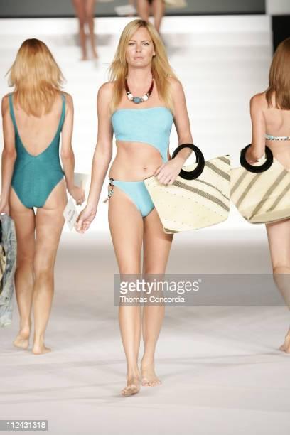 Model wearing Freya by Footprints during Sunglass Hut Swim Shows Miami Presented by LYCRA Swimwear Association of Florida Fashion Show Runway at...