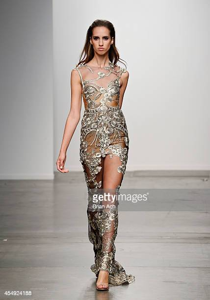A model wearing Galanni walks the runway during the Fashion Palette Australia runway show during New York Fashion Week Spring 2015 at Pier 59 on...