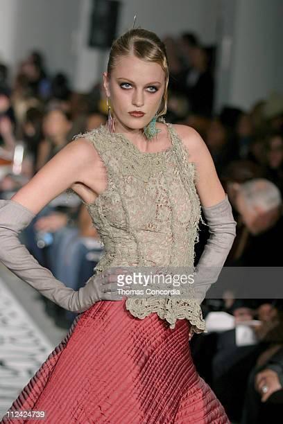 Model wearing Gary Graham Fall 2004 during Olympus Fashion Week Fall 2004 Gary Graham Runway at Mao Space at Atlas in New York City New York United...