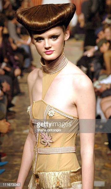 Model wearing Heatherette Fall 2004 during Olympus Fashion Week Fall 2004 Heatherette Runway and Backstage at The Mao Space at the Atlas Building in...