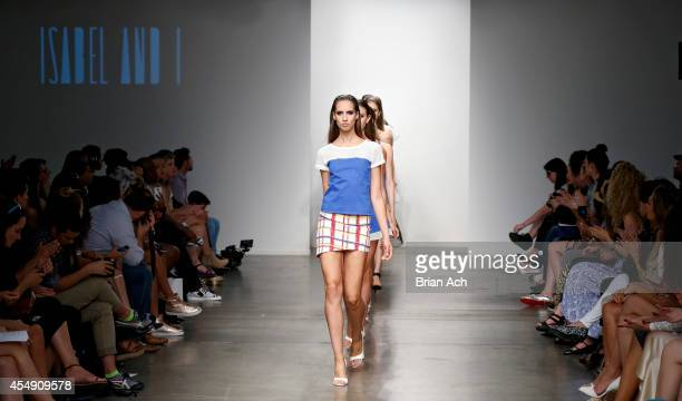 A model wearing Isabel I is seen walking the runway during the Fashion Palette Australia show during New York Fashion Week Spring 2015 at Pier 59 on...